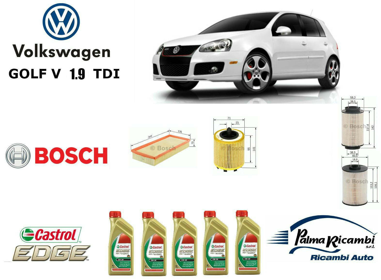 Kit tagliando olio filtri bosch 5 lt castrol 5w30 for Filtro aria cabina da golf vw