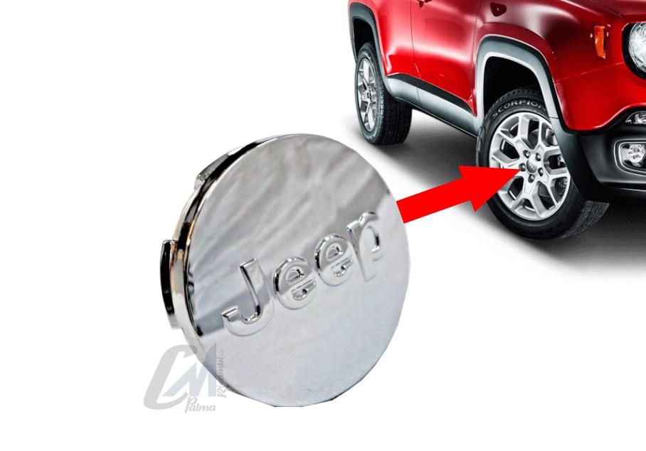 1 Coprimozzo Jeep Renegade Cherokee Compass Borchia Stemma Cerchi In Lega Originale nero opaco