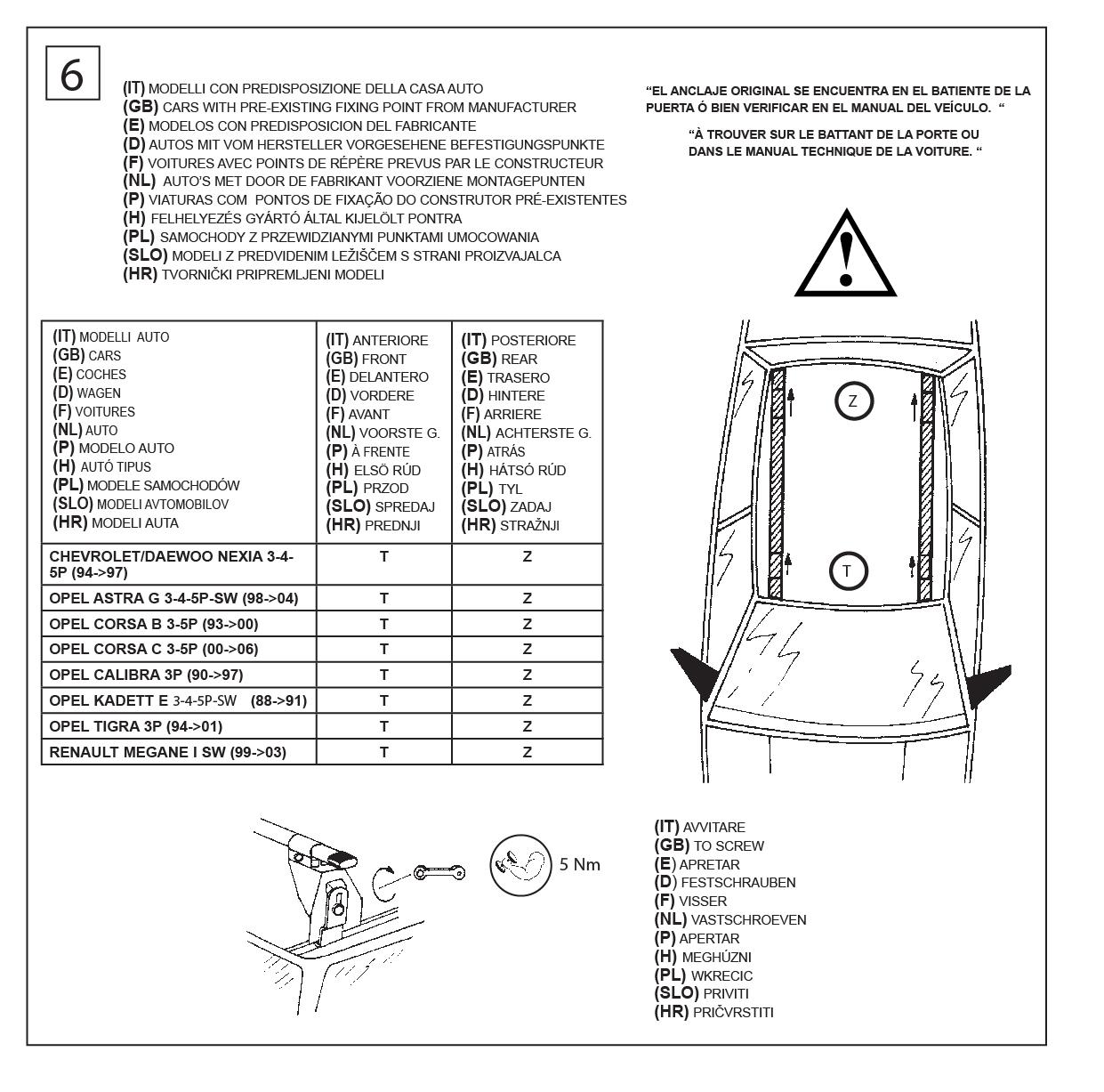 BARRE PORTATUTTO PORTAPACCHI CAM LOGICO  41001 OPEL ASTRA SEAT