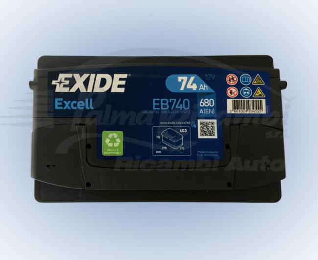 BATTERIA AUTO EXIDE EXCELL EB740 74Ah 680A POLO DX = BOSCH 0092S40080 VARTA E11